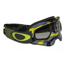 Maschera Oakley O-Frame MX Gunmetal / Green / Clear oo7029-16 Goggles